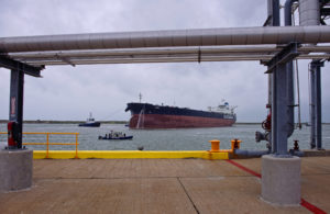 The VLCC Anne prepares to dock at the Oxy Ingleside Energy Center