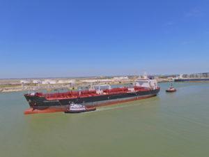 Liquid bulk tanker at Port Corpus Christi.