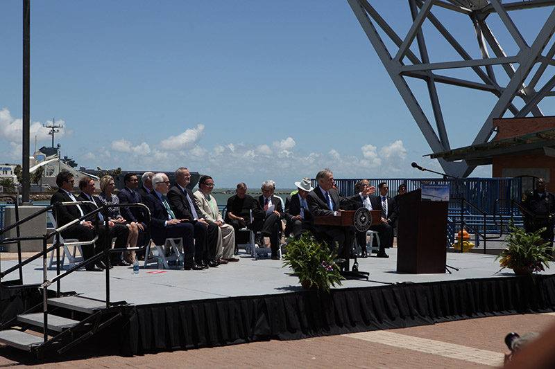 Texas Governor Gregg Abbott opens the official ceremony for the New Corpus Christi Harbor Bridge Groundbreaking