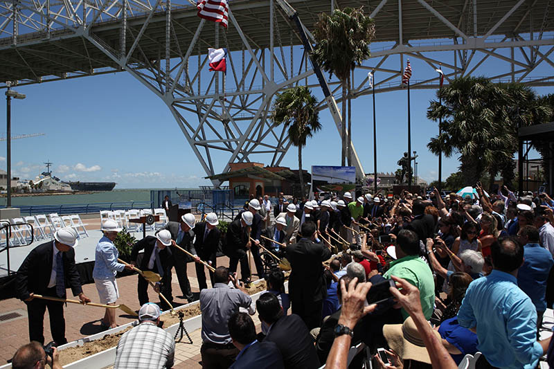 Local, State, and Federal Dignitaries join Port Corpus Christi in a symbolic turning of the dirt for a New Corpus Christi Harbor Bridge